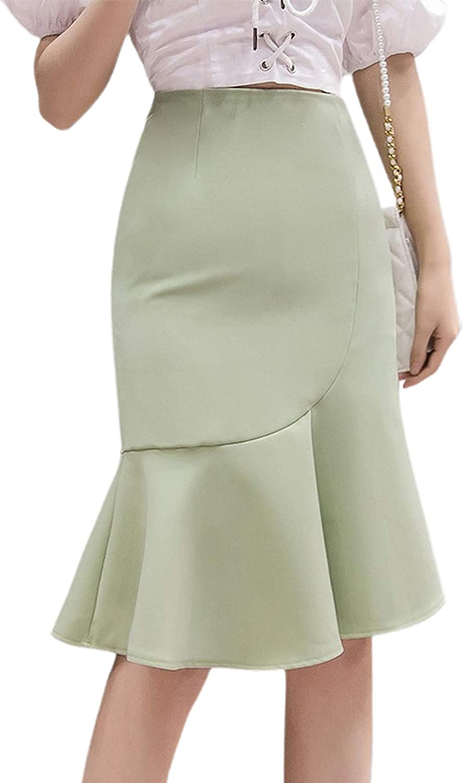 CHARTOU Women's Chic High Waist Packaged Hip Ruffle Mermaid A-Line Midi Skirt