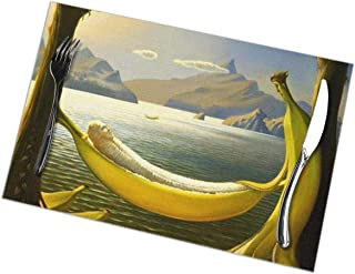 Colby Keats 12 X 18 Inch Placemats Set of 6, Heat Resistant and Washable Placemat for Dining Table, Indoor Outdoor Anti-Skid Kitchen Table Mats with Bananas Hammock Funny Illustration