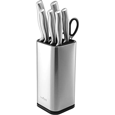 """Laxinis World Universal Knife Block, Stainless-Steel Modern Rectangular Design with Scissors-Slot, Knife Holder Counter-top Storage, Holds 12 8""""-Blade Knives, 9.1"""" by 4"""""""