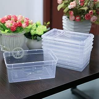 Petforu Breeding Box 5pcs, Worm Dish Reptile Feeding Box Food Container Small Size (Transparent White S)