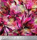Soimoi Rosa Poly Georgette Stoff Blumen & Textur Stoff