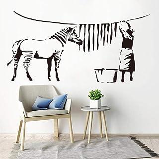 Stickers Muraux,Zèbre Rayure Buanderie Vinyle Sculpture Autocollants Mur Royaume-Uni Décalque Amovible Art Mural Mode Déco...
