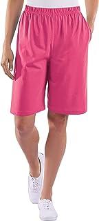AmeriMark Womens Walking Shorts Elastic Waist Lightweight with Side Seam Pockets