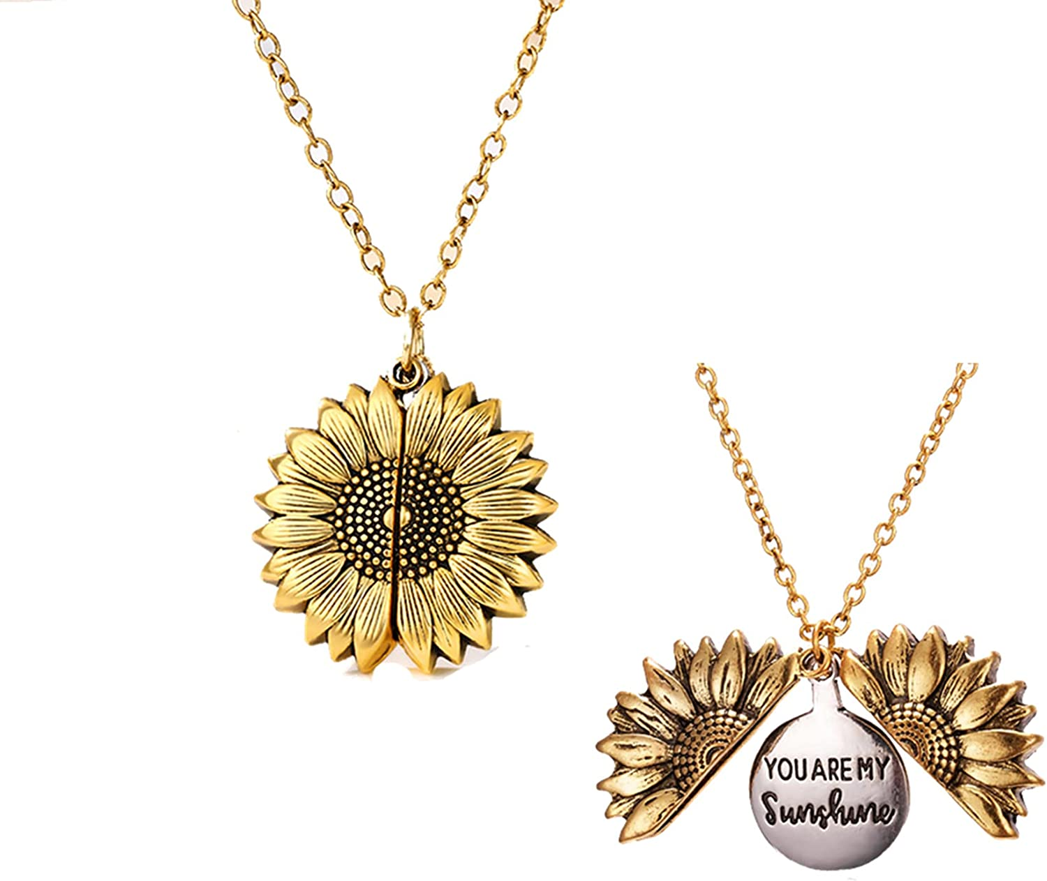 2pcs You Are My Sunshine Sunflower Necklaces for Women, Open Locket Long Chain Sun Flower Pendant Necklace Jewelry Gifts (Gold)