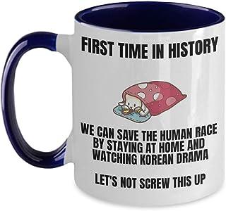 Funny Kdrama Mug - Stay Home Save Lives Watch Kdramas - Best Korean Drama Merchandise For K-Drama Addict, Korea Oppas Gifts, I Love My Korean Boyfriend Coffee Cup