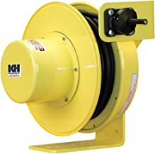 KH Industries RTF Series ReelTuff Industrial Grade Retractable Power Cord Reel, 14/3 SOOW Cable, 15 Amp, 70' Length, Yellow Powder Coat Finish
