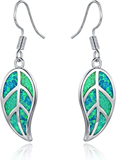 18K White Gold/Rose Gold Plated Created White or Green Opal Leaf Drop Dangling Earrings
