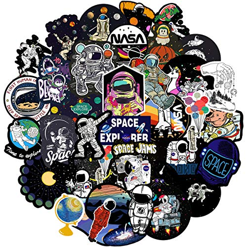 NASA Stickers Pack for Water Bottle,Waterproof Vinyl Space Explorer Galaxy Stickers Perfect for Hydro Flask Laptop Phone Car Skateboard Travel Case Bicycle Bumper Snowboard Decor(Spaceman 50 Pcs)1