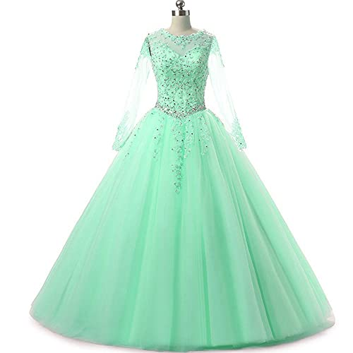 481a748f57 MEILISAY Women s Long Sleeves Prom Ball Gowns Beading Quinceanera Dresses  with Appliques Evening Formal Dresses