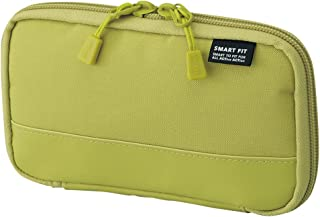 """LIHIT LAB. Compact Pen Case (Pencil Case), Water & Stain Repellent, Yellow green, 3.5"""" x 6.5'' (A7687-6)"""