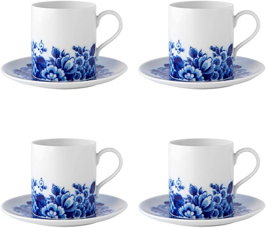 Vista Alegre Porcelain Blue Ming Set Of 4 Tea Cups And Saucers