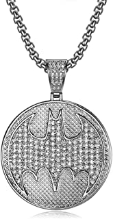 Hip Hop Micro Paved Zircon Wind Round Batman Pendant Necklace with Rope Chain Bling Jewelry Gift for Men