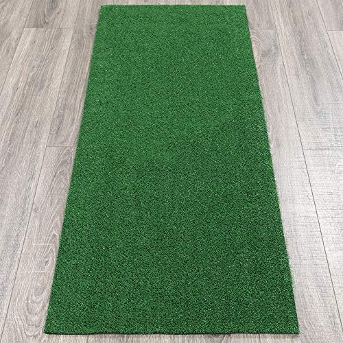 Ottomanson Garden Collection Solid Grass Design Runner Rug, 20' x 59', Green