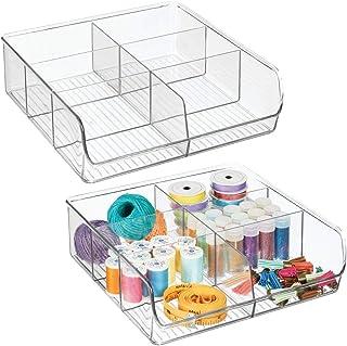 mDesign zestaw 2 otwartych pudełek do przechowywania materiałów do szycia i pasmanterii – praktyczny schludny biurko z 6 p...