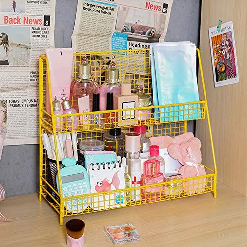 ABCSS Organizador de cosméticos,Estante de cosméticos de Arte de Hierro,Caja de Almacenamiento de Productos para el Cuidado de la Piel de Escritorio,2 Capas
