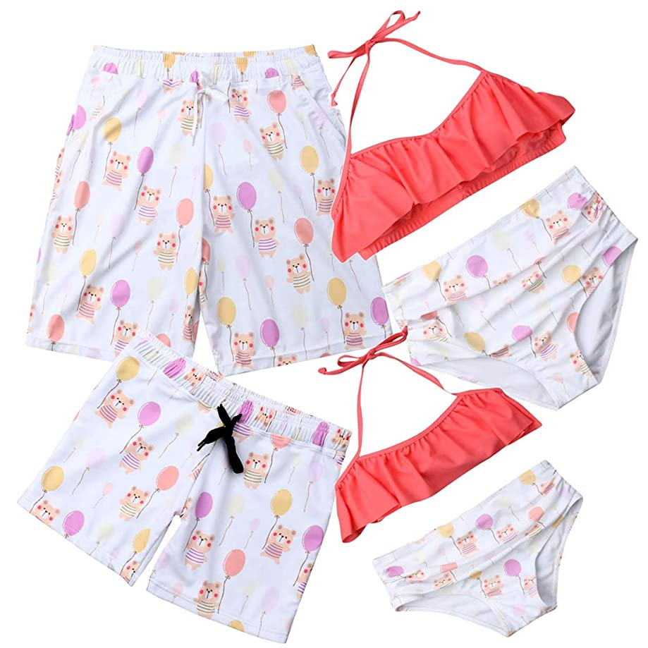 Family Matching Swimsuits Mother Girl Swimwear High Waist Floral Two-Pieces Bikini Set Father Boy Swim Trunks Bathing Suit