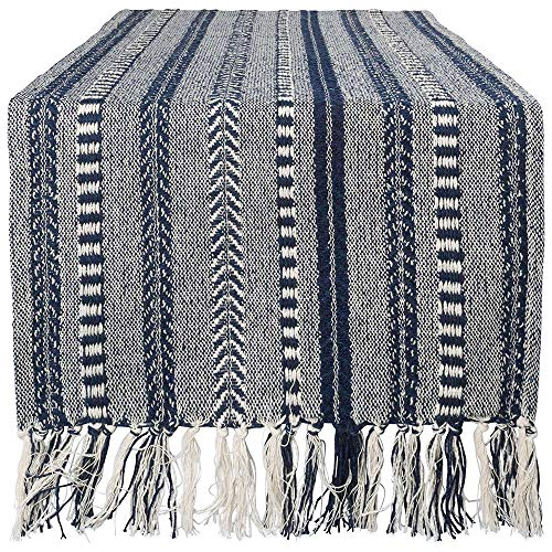 DII CAMZ38886 Braided Cotton Table Runner Perfect for Summer, Holiday Parties and Everyday Use, 15x108', Navy Blue