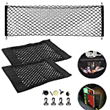 NEPAK 1 pcs Universal Automotive Cargo Nets,Adjustable Elastic Trunk Cargo Organizer Nylon Mesh Rear Car Net for SUV, Truck Bed, Pickup, with Hooks/2 pcs Storage Net for Bottles,Groceries