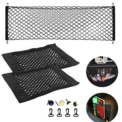 NEPAK 3 Stück Auto Gepäcknetz,Elastisch Nylon Kofferraumnetz Lagerung Mesh Auto-Gepäcknetz 110 x 50 cm + 2 x Kofferraum Netztasche
