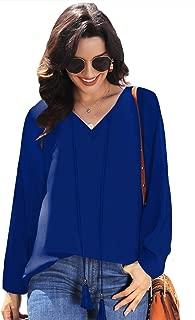 Womens Casual Tops Long Sleeve V Neck Chiffon Blouse Loose Shirts