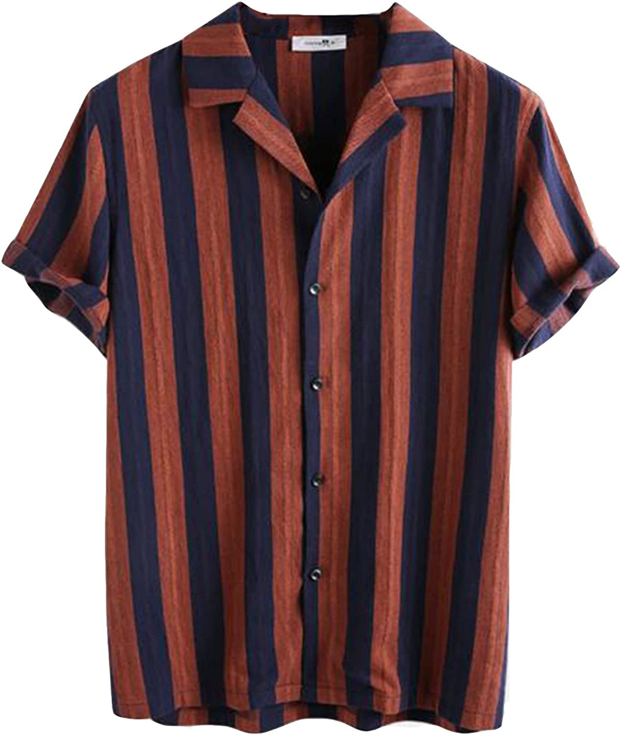Men's T-Shirt Vintage Stripe Summer Short Sleeve Tops Loose Buttons Casual Tee Blouse with Pocket M-3XL