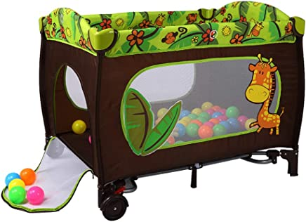 Baby Travel Cot Bed Portable Play Pen Child Bassinet Playpen Entryway Folding Mattress and Wheels