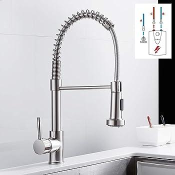Niederdruck Armatur Küche Ausziehbar Wasserhahn Küchenarmatur 9°  Mischbatterie Einhebelmischer Spültischarmatur Geschirrbrause mit zwei  Funktionen