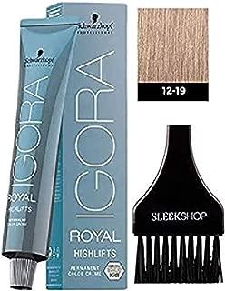Schwarzkopf IGORA Royal HIGHLIFTS Permanent Hair Color Creme Dye (with Sleek Tint Applicator Brush) Haircolor Cream (12-19 Special Blonde Cendre Violet)