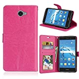 Huawei Y7 2017 Coque, SATURCASE Luxe Lisse PU Cuir Magnétique Flip Cover Portefeuille Support...