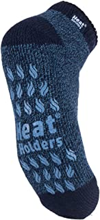 Heat Holders - Mens Non Skid Low Cut Thermal Ankle Slipper Socks with Grippers