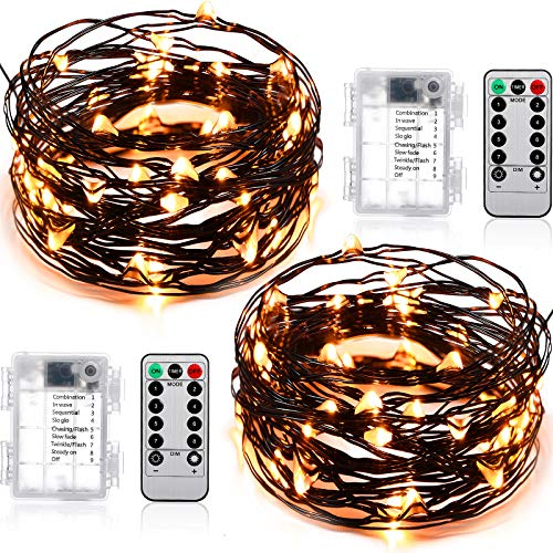 2 Sets Fairy String Lights, 16.4 ft 50 LED Christmas String Lights with 8 Modes Remote Control Fairy Lights for Christmas Bedroom Patio Wedding Party Indoor Outdoor Decor Favor