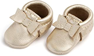 Freshly Picked - Soft Sole Leather Bow Moccasins - Newborn Baby Girl Shoes - Infant Size 0 - Multiple Colors