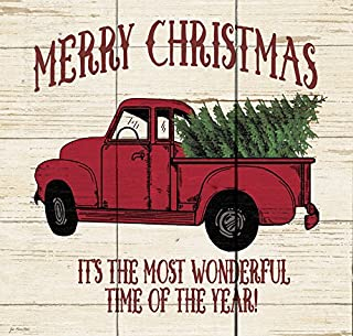 P. Graham Dunn Merry Christmas Vintage Truck Whitewash 10.5 x 10 Wood Pallet Wall Plaque Sign