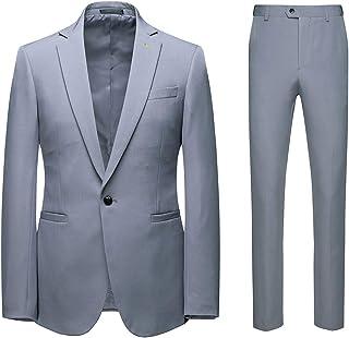 AOWOFS Men's Suits Slim Fit 2 Piece Suit for Men Lapel One Button Business Double Vent Jacket Pants Set