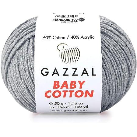 60/% Cotton // 246 Yrds Gazzal Baby Cotton Each 1.76 Oz Orange - 3419 225m Total 8.8 Oz 50g 5 Skein Pack Super Fine Baby Yarn Soft