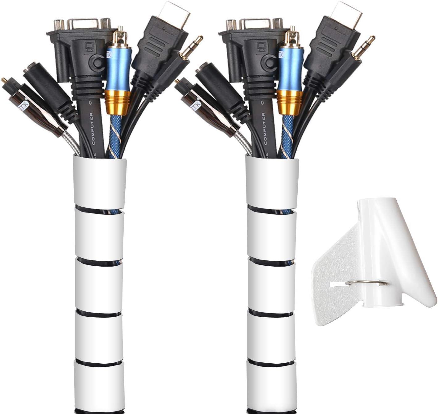 MOSOTECH Organizador Cables, Cubre Cables de 2 x 3m, Flexible Funda Organizador Cables, Organizador de Cables Mesa, Recoge Cables para Office y PC ...