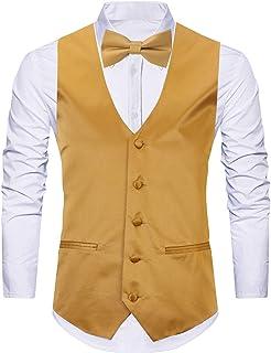 97bef1821e WANNEW 4pc Mens Tuxedo Vest Suit Vest Paisley Vest Set, with Bow Tie, Neck