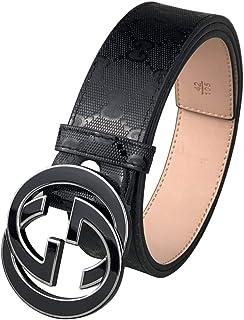 Men's Fashion Leather Black Belt-Alloy Metal Black Silver Button