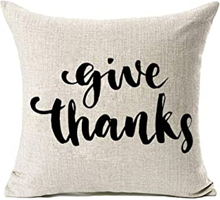 MFGNEH Thanksgiving Decor Give Thanks Cotton Linen Pillow Covers 18x18,Thanksgiving Gifts Throw Pillow Covers