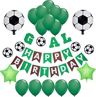 Sports Themed Soccer Party Supplies and Decorations for Girls and Boys-1 Happy Birthday Banner, 2 Star 2 Soccer Foil Balloons, 16 Green Latex Balloons, Supplies and Favors for Girls Boys Kids 1st 2nd 3rd 4th Bday Decor