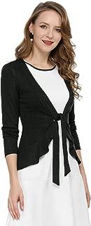 Allegra K Women's Tie Front Metallic Ruffled Long Sleeve Open Cardigan