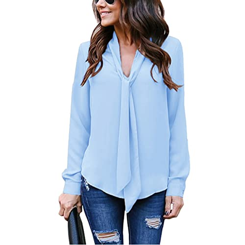 217e0bf9f9ee5f Yidarton Women V Neck Chiffon Long Sleeve Solid Color Casual Tops Shirts  Blouse