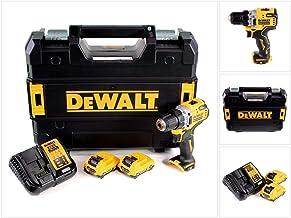 DEWALT DCD701D2-QW DCD701D2-QW-Taladro Atornillador sin escobillas XR 12V 10mm 57,5Nm con 2 baterías Li-Ion 2Ah y maletín TSTAK, 12 V, Negro Y Amarillo