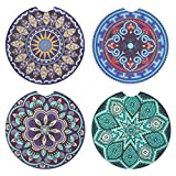 Vaincre 4 Pack Car Coasters, 2.56 inch Absorbent Mandala Ceramic Car Cup Holder Coaster with Fingertip Grip for Easy Removal, Keeps Vehicle Cup Holders Clean of Cold Drink Spills and Condensation