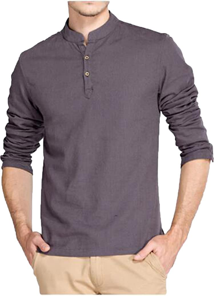 Hoerev Men Casual Long Sleeve Linen Slim Fit Shirts Beach Shirts