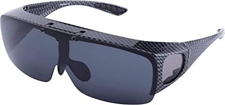 TINHAO Mens Polarized Flip Up Fitover Sunglasses with Mirrored Lenses