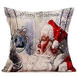 Reooly Merry Christmas Linen Santa Fundas de Almohada Funda de cojín para sofá Decoración del hogar 45cm * 45cm