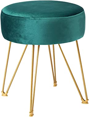 ERONE Footstool Ottoman North European Round Dressing Stool with Gold Metal Legs Upholstered Footrest,Makeup Chair for Kitchen Bedroom Living Room (Green)