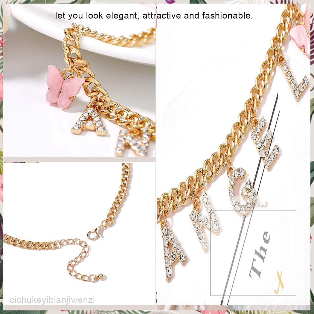Taktik Sparkly Crystal Choker Necklaces Letter Pendant Necklace Chains Butterfly Glitter Chokers Rhinestone Necklace Chain Jewelry for Women and Girls (Pink)