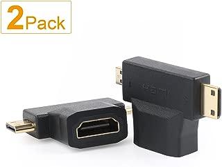 Micro HDMI to HDMI Adapter HDMI to Mini HDMI Adapter Micro HDMI to Mini HDMI Adapter,SHD Mini and Micro HDMI to HDMI 2 in 1 T HDMI Coupler-2Pack